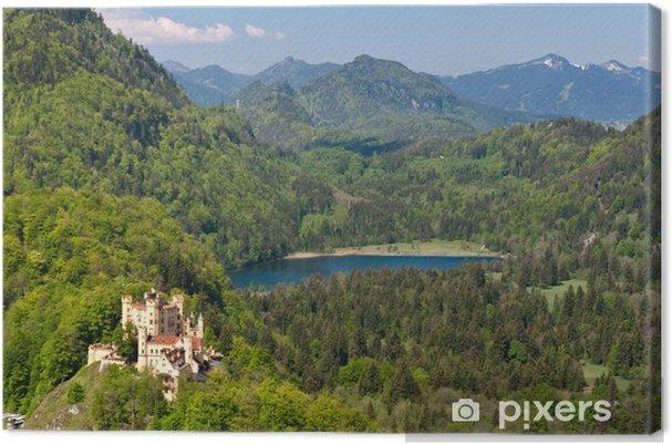 Quadro su tela castello di hohenschwangau e il lago schwansee