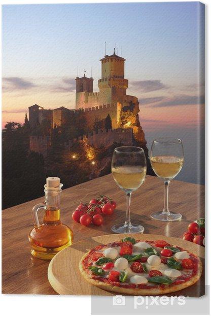 Quadro su Tela Castello di San Marino con la pizza italiana in Italia - Temi