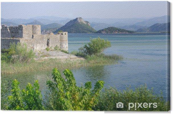 Quadro su tela castello lesendro su park montenegro il lago di