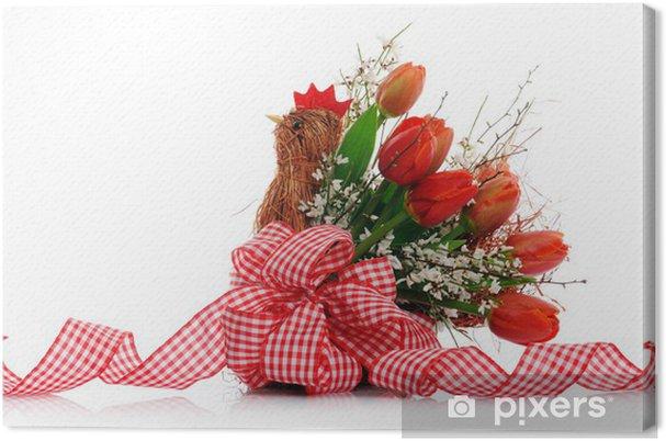 Quadro su Tela Cesto con tulipani rossi • Pixers® - Viviamo per il ...
