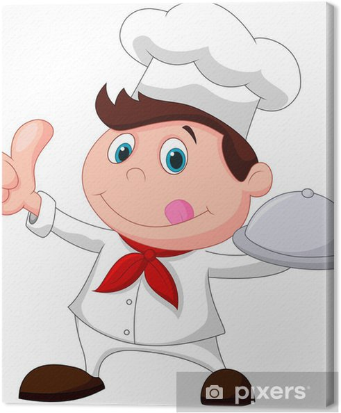 Quadro su Tela Chef in possesso di un piatto di cibo in metallo e il  pollice in su a5b4d8062482