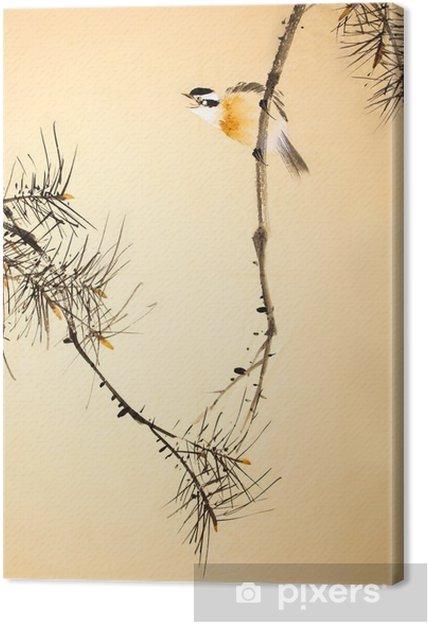 Quadro su Tela Cinese uccello pittura a inchiostro e impianti - Animali