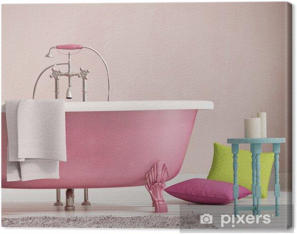 Quadro su tela classica vasca da bagno rosa con uno sgabello e