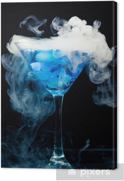 Quadro su Tela Cocktail blu con spruzzata di ghiaccio e vapore - Bevande  alcoliche 09388554589