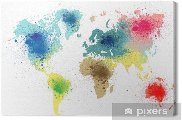 Quadro su Tela Colorata mappa del mondo con spruzzi di vernice - Arte e lifestyle