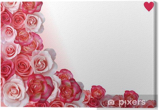 Quadro Su Tela Confine Astratto Fiori Sfondo Bianco E Rosa