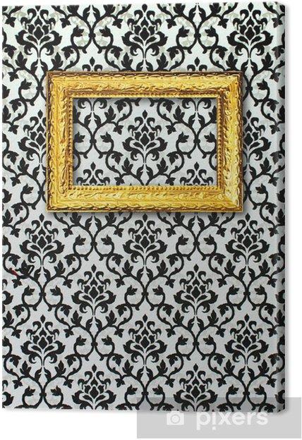 Quadro Su Tela Cornice Oro Su Uno Sfondo Bianco E Nero Pixers
