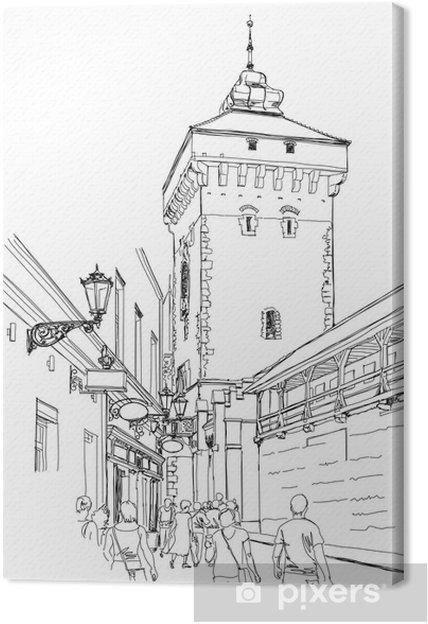 Quadro su Tela Cracovia. Polonia. Torre delle mura della città - Temi