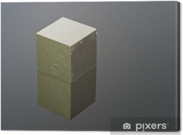 Cubo Di Ferro.Quadro Su Tela Cubo Perfetto Piriti Di Ferro Su Una Superficie Riflettente Nera