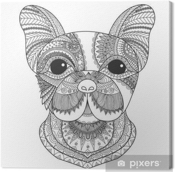 Quadro Su Tela Cucciolo Bulldog Francese Zentangle Stilizzato Per Libro Da Colorare Per Adulti Tatuaggio Disegno T Shirt E Altre Decorazioni