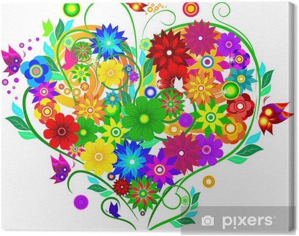 Quadro su Tela Cuore con fiori