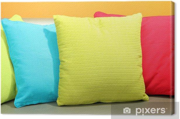 Cuscini Colorati.Quadro Su Tela Cuscini Colorati Sul Divano Su Sfondo Giallo