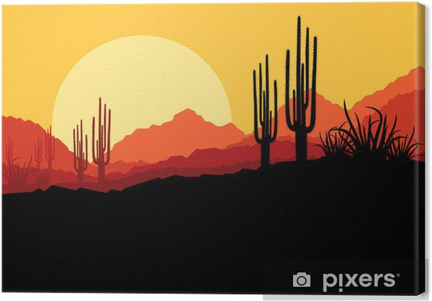 Quadro su Tela Deserto paesaggio natura selvaggia con cactus e piante di palma - Altri sentimenti