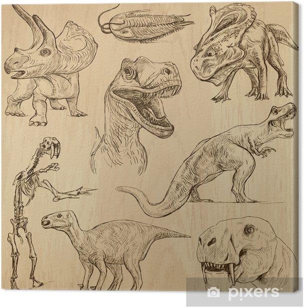 Quadro su Tela Dinosauri no.3 - illustrazioni disegnate, insieme vettoriale una mano - Altri Altri