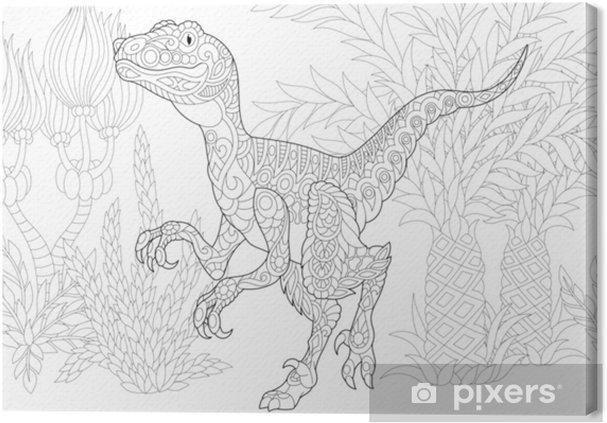 Quadro Su Tela Dinosauro Stilizzato Del Velociraptor Del Periodo