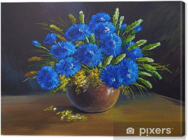Quadro su tela dipinto ad olio natura morta un mazzo di for Dipinti ad olio fiori