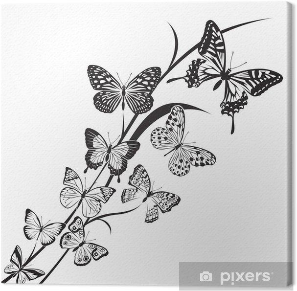 Quadro Su Tela Disegno Farfalle In Bianco E Nero Su Sfondo Floreale