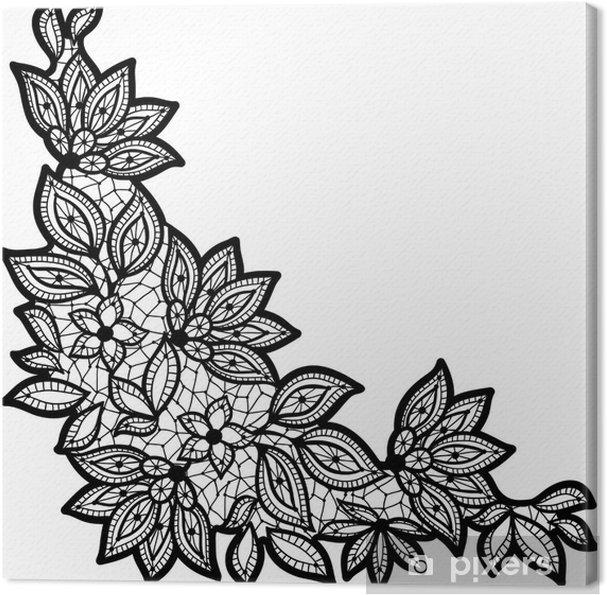 Disegno Nero Su Bianco.Quadro Su Tela Disegno Floreale Nero E Pizzo Isolato Su Bianco