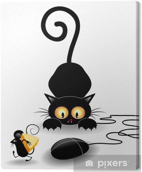 Quadro su tela divertente cartone animato con mouse gatto con topo