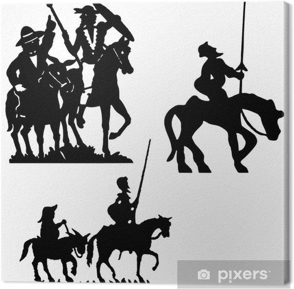 I Donchisciotte Del Tavolino.Quadro Su Tela Don Quijote Vettore Silhouette Don Chisciotte
