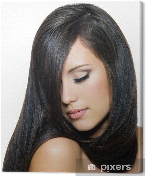 Quadro su Tela Donna con i bei capelli lunghi marroni • Pixers ... 170bda520149