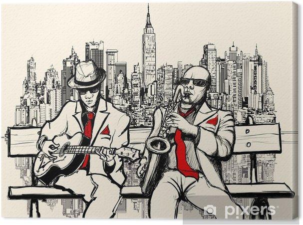 Quadro su Tela Due uomini che giocano jazz a New York - Jazz