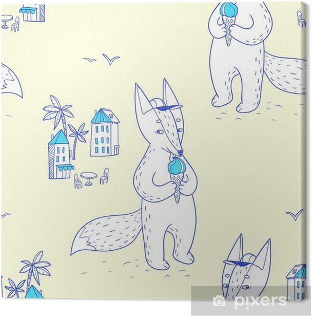 Quadro su Tela Estate. disegnato a mano seamless con cute volpe sulla strada - Hobby e Tempo Libero