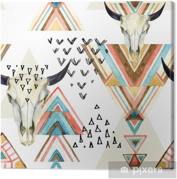 Quadro su Tela Estratto cranio acquerello animale e geometrica ornamento seamless. - iStaging