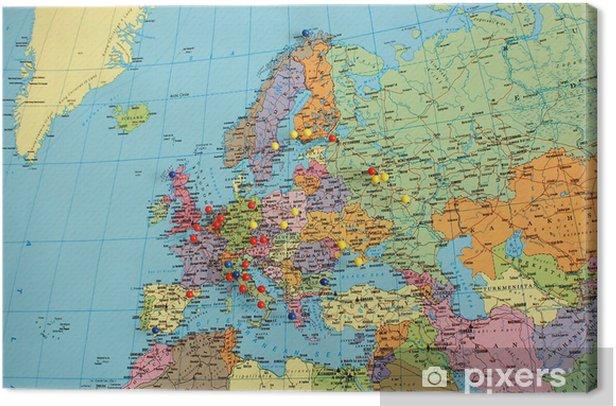 Quadro su Tela Europa mappa con perni di viaggio - Temi
