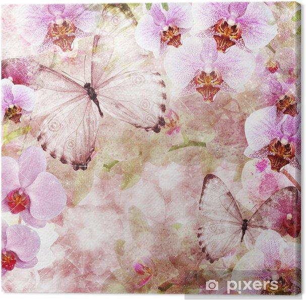 Quadro Su Tela Farfalle E Fiori Di Orchidee Sfondo Rosa 1 Di Set