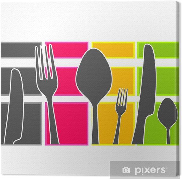 Quadro su Tela Fascia colorata con posate da cucina