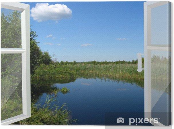Quadro su tela finestra aperta verso il lago e prato u2022 pixers