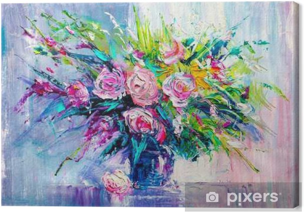 Quadro su tela fiori di pittura ad olio pixers for Quadri di fiori ad olio