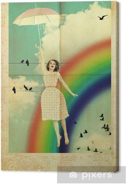 Quadro su Tela Fly bellezza donna con ombrello in cielo - Arcobaleni