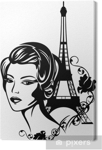 Quadro su Tela Francese ritratto di moda chic - Città europee