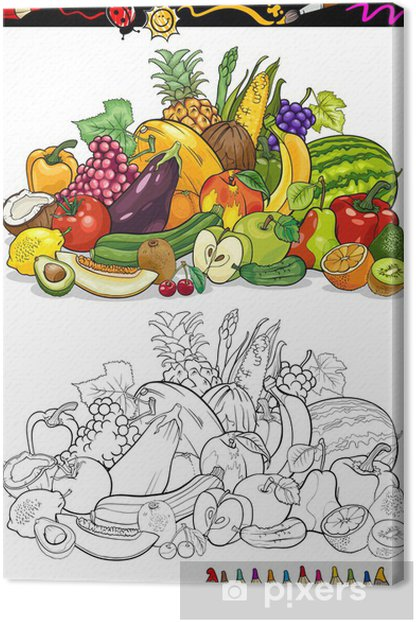 Quadro Su Tela Frutta E Verdura Per Libro Da Colorare Pixers Viviamo Per Il Cambiamento