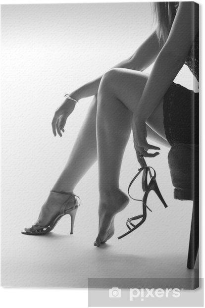 Quadro su Tela Gambe di donna sexy e tacchi alti, sfondo bianco - Temi