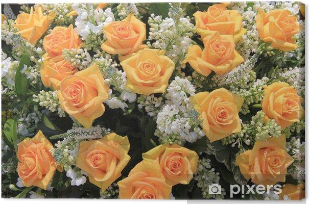 Fiori Gialli Comuni.Quadro Su Tela Giallo Rosa E Bianco Comuni Fiori Matrimonio
