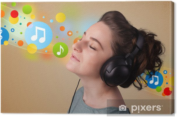 Quadro su Tela Giovane donna che ascolta la musica con le cuffie ... a3a152fd0e30