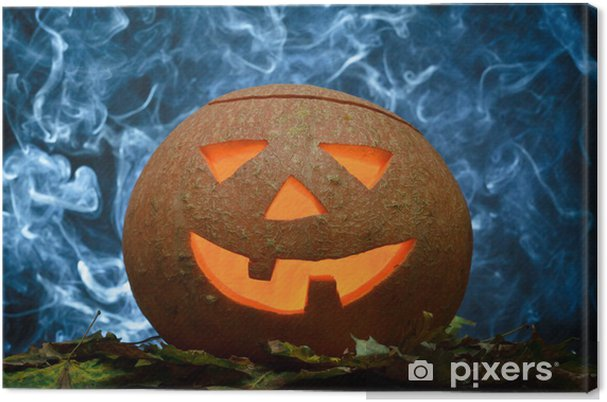 Quadro su Tela Glowing zucca di Halloween e fumo blu - Feste Internazionali bce34713e9ff