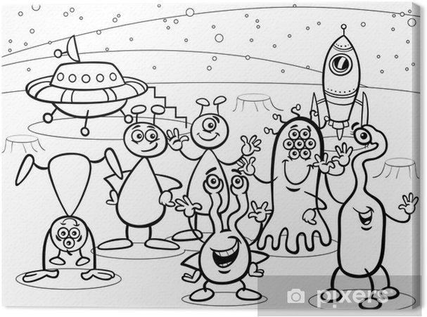 Quadro Su Tela Gruppo Di Alieni Ufo Del Fumetto Libro Da Colorare