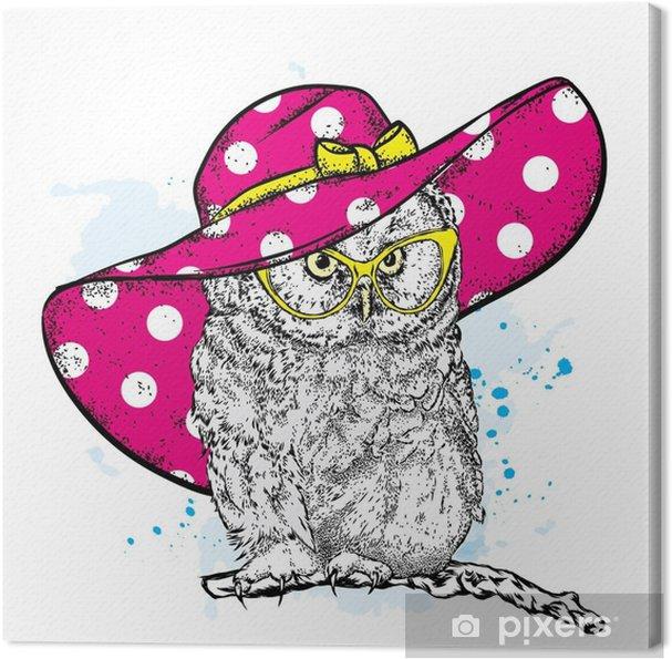 6be867f60a514f Quadro su Tela Gufo divertente in un bellissimo cappello da spiaggia e  occhiali da sole. illustrazione vettoriale per una cartolina o un poster,  ...