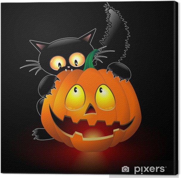 Zucca Halloween Gatto.Quadro Su Tela Halloween Cat Cartoon Mordere Una Zucca Gatto Con Zucca
