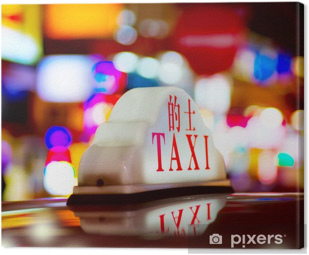 Quadro su Tela Hong Kong Taxi Notte - Città asiatiche