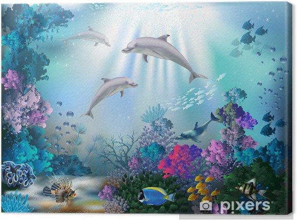 Quadro su tela il mondo subacqueo con i delfini e le piante u2022 pixers