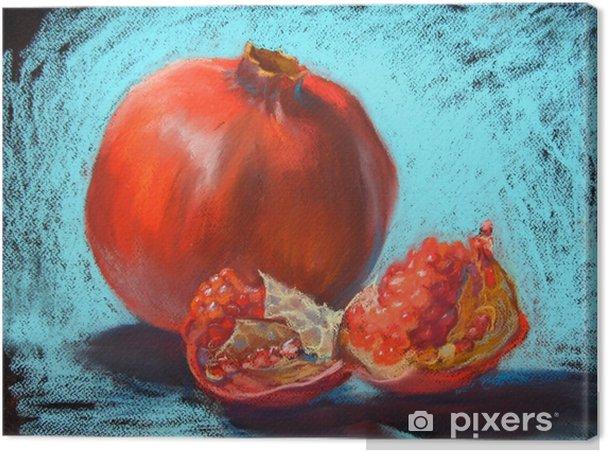 Quadro su Tela Illustrazione dei pastelli del granato che dipinge, fondo blu del turchese dell'ansa - Cibo