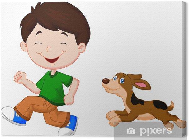 Quadro su tela illustrazione di un ragazzo che corre con il suo