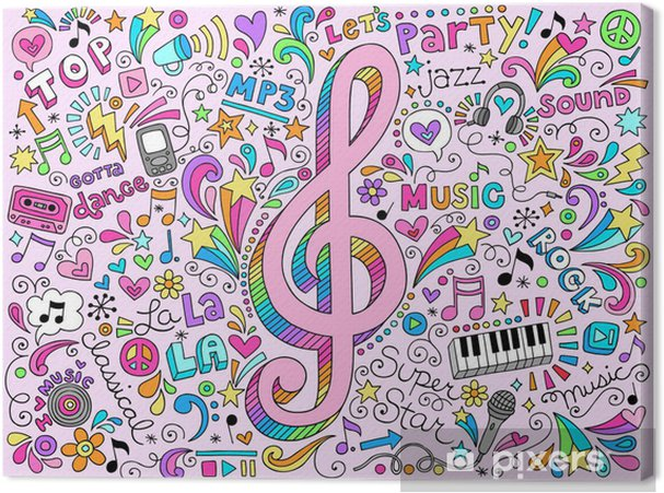 Quadro su Tela Illustrazione note di musica g Clef Groovy Doodles Vector - Rock