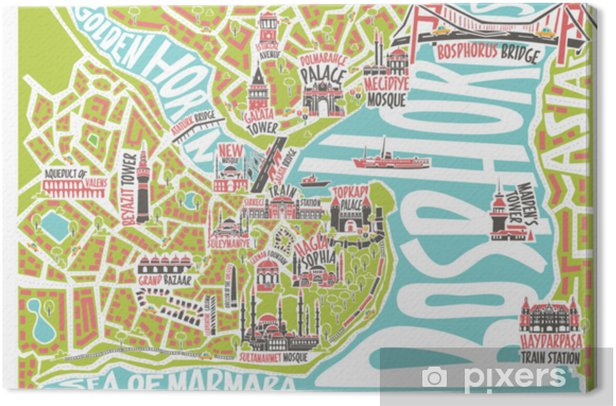 Cartina Con Monumenti Di Londra.Quadro Su Tela Illustrazione Vettoriale Colorata Mappa Di Istanbul Con Famosi Monumenti Pixers Viviamo Per Il Cambiamento