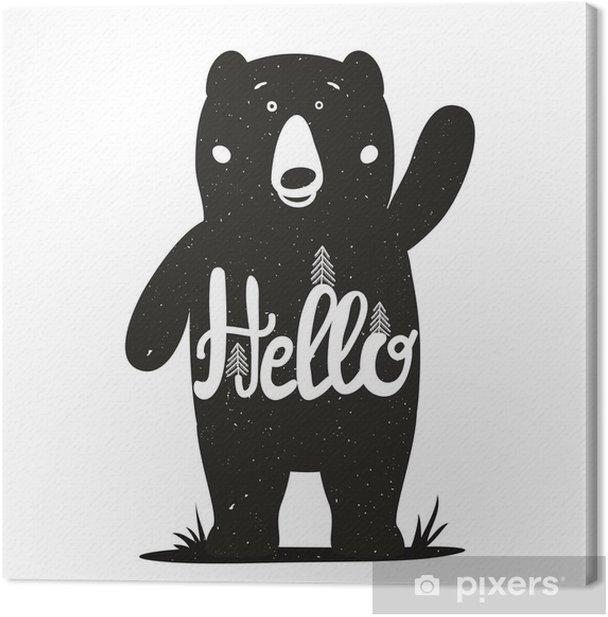 Quadro su Tela Illustrazione vettoriale divertente con cute parola orso e lettering - ciao. - Animali